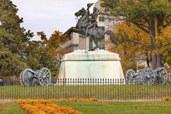 Jackson Statue Canons Lafayette Park Autumn Washington DC Royalty Free Stock Image