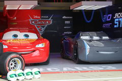 Jackson Storm and lightning mcqueen. Disney Pixar cars in Cars 3 Royalty Free Stock Image