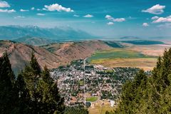 Aerial view of Jackson, Wyoming stock photography