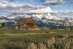 JACKSON, WYOMING/USA - 30 SEPTEMBER: Mening van Mormoonse Rij dichtbij Ja Stock Fotografie