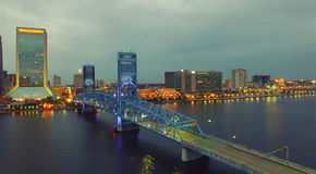 Jacksonville aerial panoramic view at dusk, Florida Stock Photos