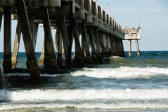People Fishing on the Pier in Jacksonville Beach Florida USA. Jacksonville Beach, FL USA – August 16, 2015: Landmark pier is almost a quarter of a mile stock image
