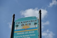 Jacksonville Beach Parking, Duval County Florida. Jacksonville Beach is a coastal resort city in Duval County, Florida, United States. It was incorporated on stock image