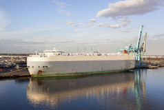 Jacksonville City Port. The view of a cargo ship and calm evening reflections in Jacksonville Florida stock photos