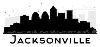 Jacksonville City skyline black and white silhouette. Royalty Free Stock Image
