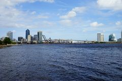 Jacksonville downtown and st johns river royalty free stock photo