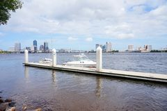 Jacksonville downtown and st johns river stock photography