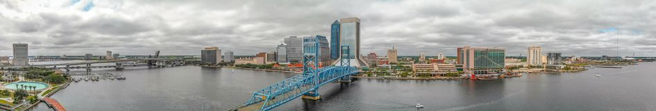 JACKSONVILLE, FL - APRIL 8, 2018: Panoramic aerial city view fro. M the river. The city is a major attraction in Florida royalty free stock images