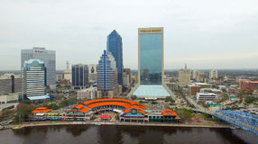 JACKSONVILLE, FL - FEBRUARY 2016: Aerial city view on a cloudy d Stock Photography