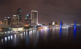 Jacksonville Florida bij nacht royalty-vrije stock foto