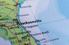 Jacksonville, Florida on map. Close up shot of Jacksonville, Florida. is the most populous city in the U.S. state of Florida stock image