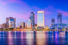 Jacksonville, Florida, USA Skyline. On the river at twilight stock photos