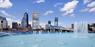 Jacksonville Florida. View of downtown Jacksonville Florida from Frindship Park and Fountain with the St John River in the background Stock Image