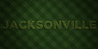 JACKSONVILLE - fresh Grass letters with flowers and dandelions - 3D rendered royalty free stock image Royalty Free Stock Photography