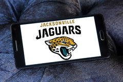 Jacksonville Jaguars american football team logo. Logo of Jacksonville Jaguars american football team on samsung mobile. The Jacksonville Jaguars are an American Royalty Free Stock Photo