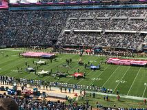 Honoring our Military in Jacksonville, FL. The Jacksonville Jaguars organization salutes our military before the November 12th game against the Los Angeles stock images