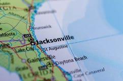 Jacksonville, la Floride sur la carte Image stock