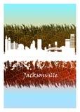 Jacksonville linia horyzontu biel i błękit ilustracji