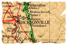 Jacksonville old map royalty free stock photography