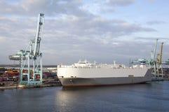 Jacksonville Port Tanker. The cargo ship moored in Jacksonville city port in Saint Johns River Florida stock photos