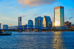 Jacksonville skyline evening in florida USA Royalty Free Stock Photos