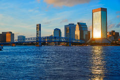 Jacksonville skyline evening in florida USA Stock Photos