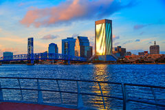 Jacksonville skyline evening in florida USA Royalty Free Stock Photography