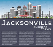 Jacksonville Skyline with Gray Buildings, Blue Sky and Copy Spac Royalty Free Stock Photos