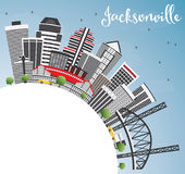 Jacksonville Skyline with Gray Buildings, Blue Sky and Copy Spac Stock Photos