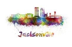 Jacksonville-Skyline im Aquarell Stockbilder
