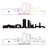 Jacksonville skyline linear style with rainbow Stock Photos