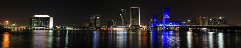 Jacksonville Skyline at night Stock Photo