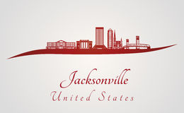 Jacksonville skyline in red Stock Photography