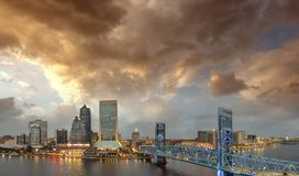 Jacksonville skyline at sunset, beautiful panoramic view of Flor Stock Photo