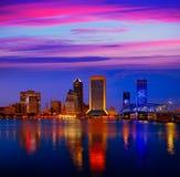 Jacksonville skyline sunset river in Florida Stock Photography