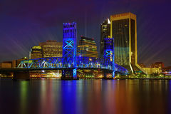 Jacksonville skyline sunset river in Florida Royalty Free Stock Images