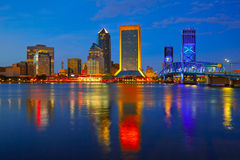 Jacksonville skyline sunset river in Florida Stock Photos