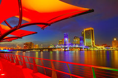 Jacksonville skyline sunset river in Florida Stock Photography