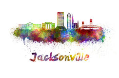 Jacksonville skyline in watercolor Stock Images