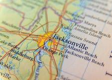 Jacksonwille关闭地理地图  免版税库存照片