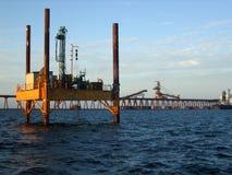 Jackup Barge and Wharf Royalty Free Stock Image