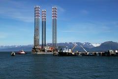 Jackup oil drilling rig in the Kachemak Bay Stock Image