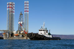 Jackup rig  in the Kachemak Bay Stock Photography