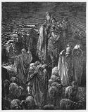 Jacob moved to Egypt. Picture from The Holy Scriptures, Old and New Testaments books collection published in 1885, Stuttgart-Germany. Drawings by Gustave Dore vector illustration