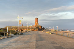Jacob Riis Park, Queens, New York. At sunset and old bathhouse Stock Image