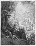 Jacob's dream. Picture from The Holy Scriptures, Old and New Testaments books collection published in 1885, Stuttgart-Germany. Drawings by Gustave Dore vector illustration