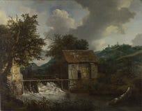 Jacob van Ruisdael - δύο Watermills και ένας ανοικτός φράχτης σε Singraven στοκ εικόνα