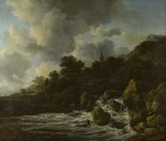 Jacob van Ruisdael - een Waterval bij de Voet van een Heuvel, dichtbij een Dorp stock foto's