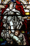 Jacob wrestling with the angel of God. A stained glass photo of Jacob wrestling with the angel of God Stock Images