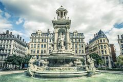 Jacobins square and beautiful fountain Royalty Free Stock Photos
